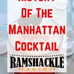 """""""History of the Manhattan Cocktail"""" on the backdrop of a manhattan cocktail"""