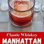 """""""Classic Whiskey Manhattan Cocktail"""" with a drink on a chess board"""