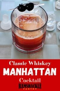 """Classic Whiskey Manhattan Cocktail"" with a drink on a chess board"