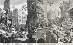 history of gin in art. Beer street and gin lane