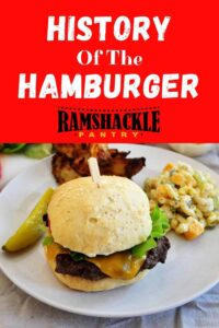 """""""History Of The Hamburger"""" with a grilled hamburger and macaroni salad on a plate."""