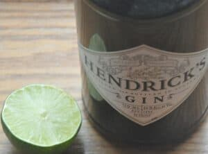 Hendrick gin and tonic with lime