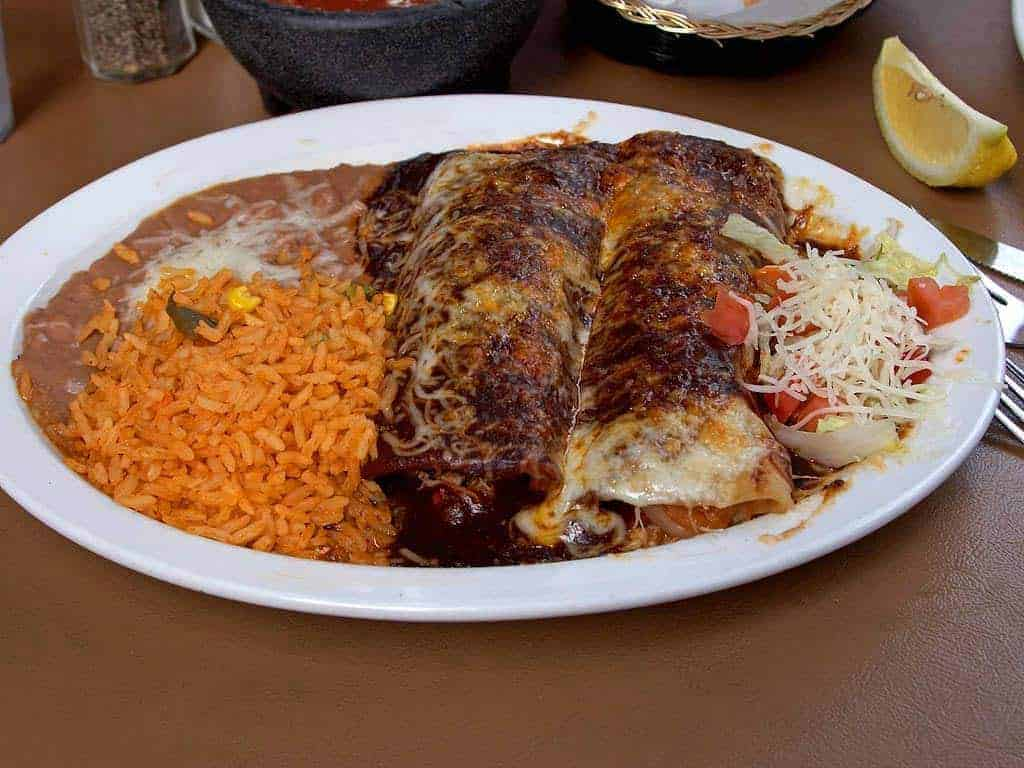Enchiladas with beans and rice