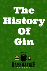 """""""The History of Gin"""" overlawed on a green backdrop with some juniper berries slightly showing."""