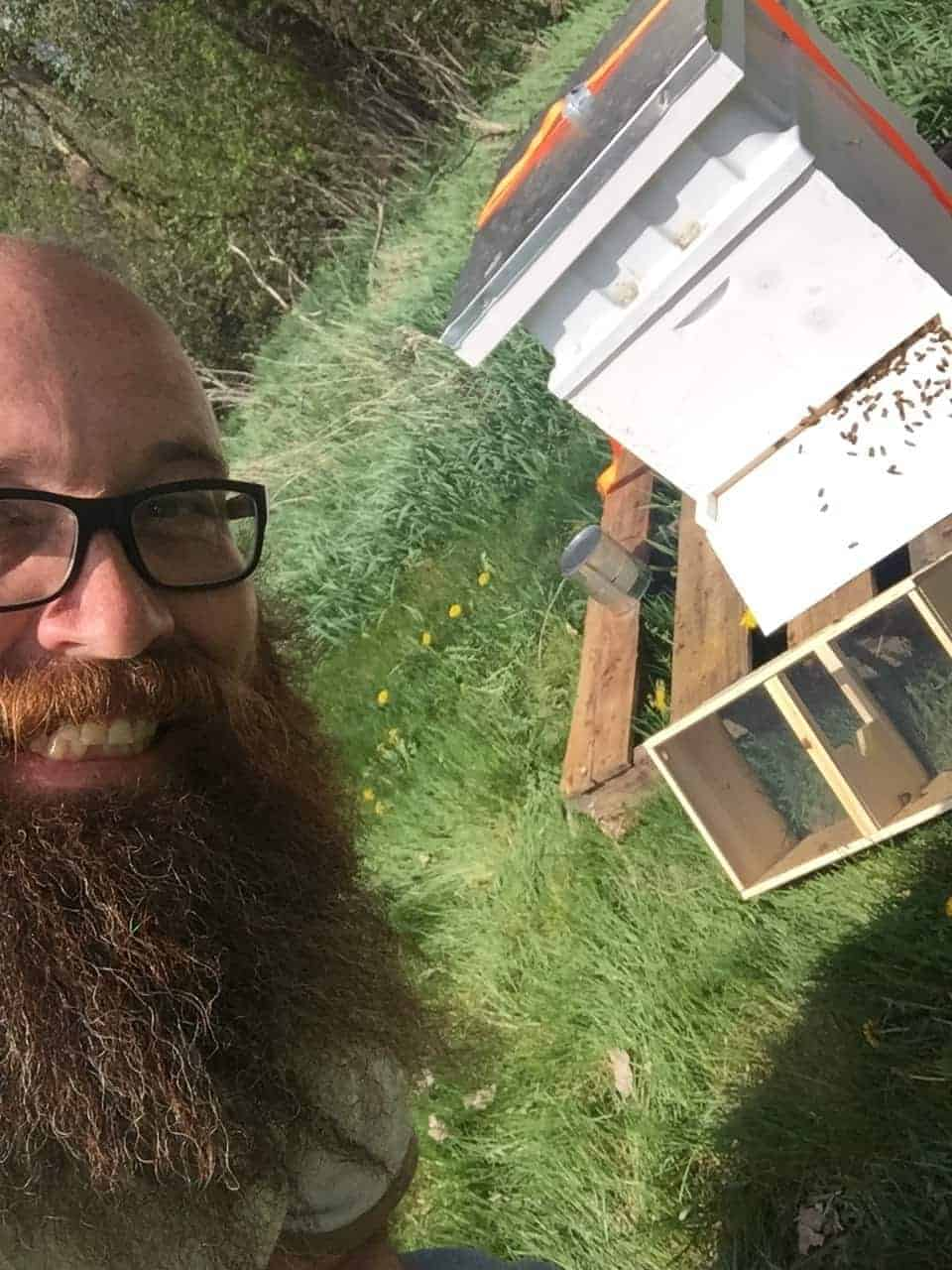 Ben with his first hive