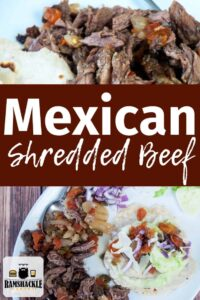 """Mexican Shredded Beef"" with top image being shredded beef and bottom being a shredded beef taco and sides."