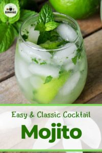 Easy and Classic Cocktail - Mojito with a glass of the described cocktail and garnished with mint.