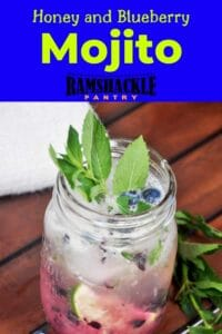 """""""Honey and Blueberry Mojito"""" with a mason jar filled with the mojito."""