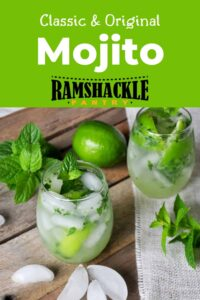 """Classic and Original Mojito"" with a picture of two mojitos on a picnic table."