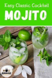 Easy Classic Cocktail Mojito on a picnic table with mint, ice, and lime all over the place