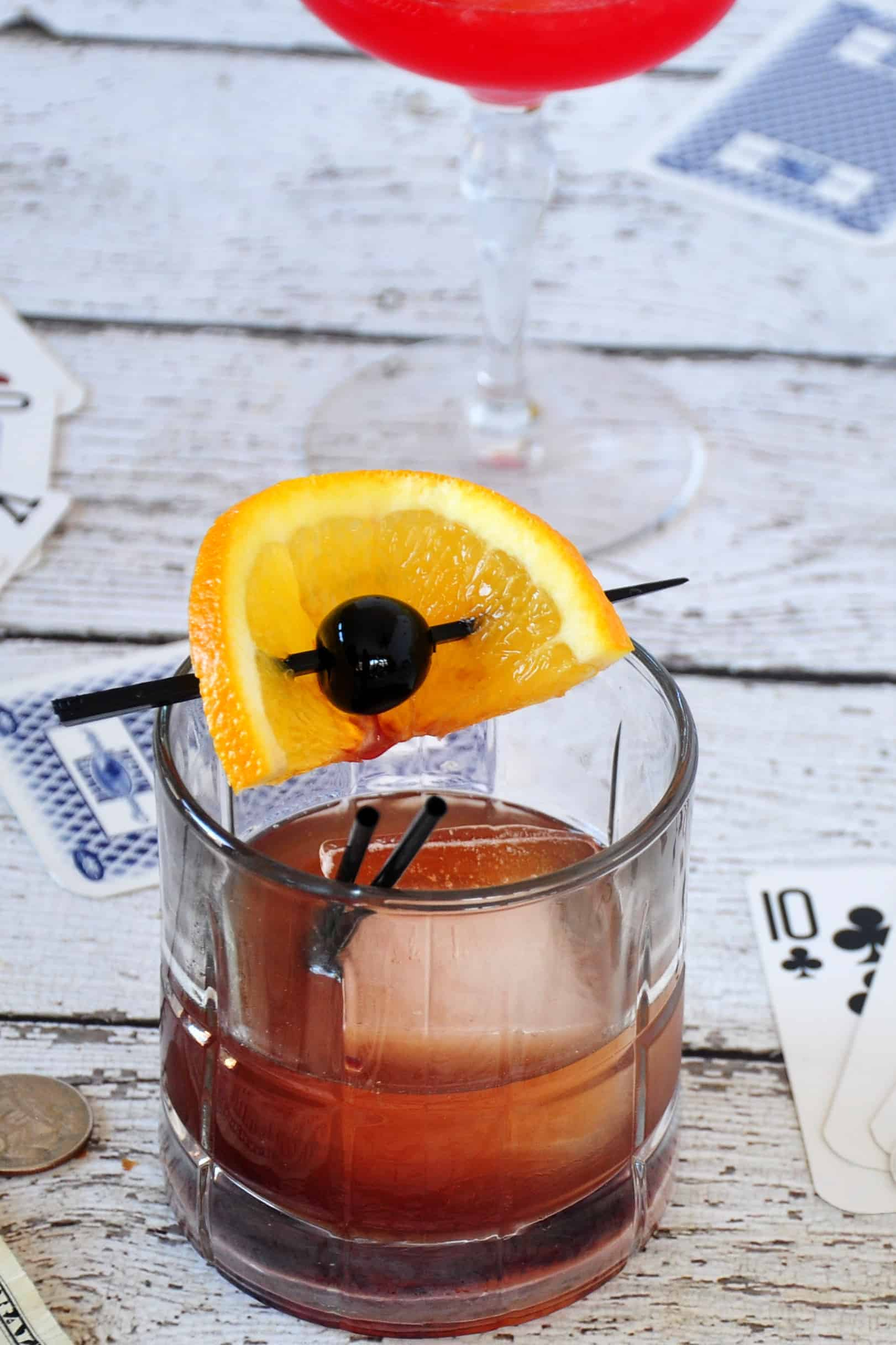 """""""Mad Men Old Fashioned"""" cocktail with pretty background"""
