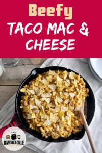 """Taco Mac and Cheese"" with a cast iron skillet listed below."