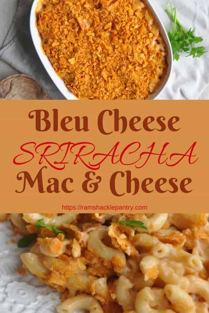 This is a flavor bomb! The Blue Cheese Sriracha Mac and Cheese is going to delight your senses and is an easy recipe! #bluecheese #sriracha #macaroni #cheese