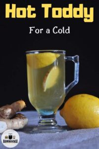 Hot Toddy for a Cold on a grey mat with lemon and ginger in the background.