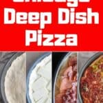 Traditional! Tasty! Cheesy! Chicago Deep Dish Pizza. Four step-by-step pics of the construction of a pizza.