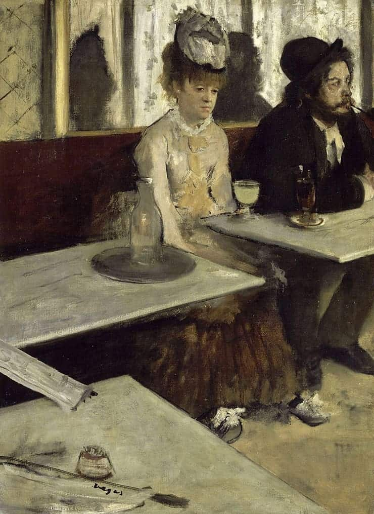 L'Absinthe painting by Degas - A woman at a table drinking an absinthe but she looks defeated