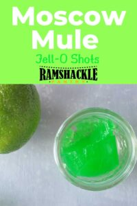 """Moscow Mule Jell-O Shots"" with one shot in a small glass and a part of a lime."