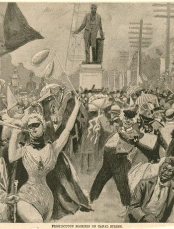 A black and white painting of Mardi Gras from long ago. A bunch of people on Canal street wearing masks