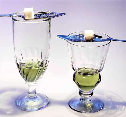 two absinthe glasses