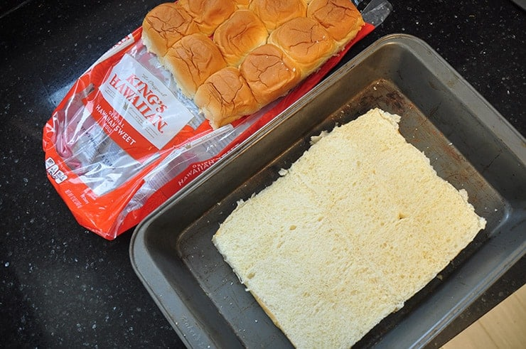 Just the Hawaiian sweet buns cut in half and laying in pan