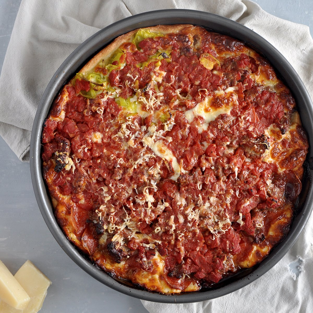 Meat Lovers Chicago Deep Dish Pizza from the top