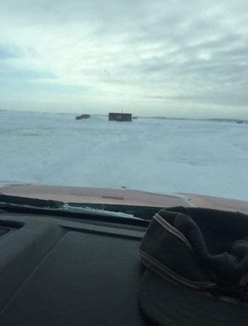 Driving on Lake of the Woods in wintertime during an ice fishing trip