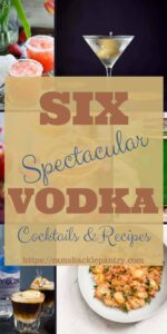 """Six Spectacular Vodka Cocktails and Recipes"" for Pinterest with images of the recipes in background"