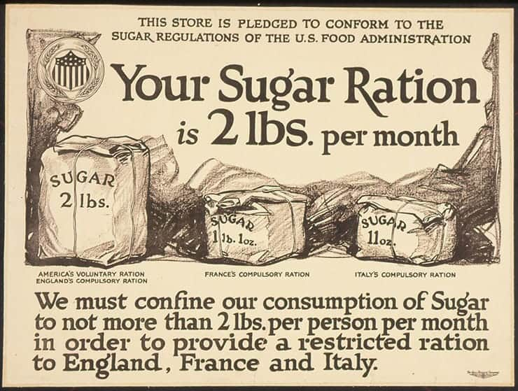War time rationing advertisement saying our sugar