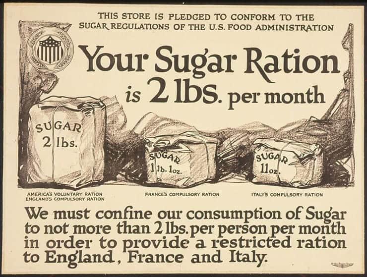 War time rationing advertisement saying our sugar