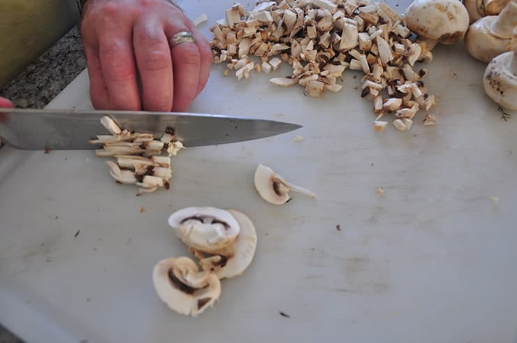 chopping mushrooms for cream of mushroom soup