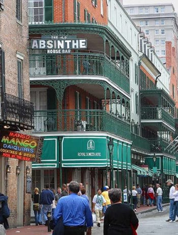 Downtown New Orleans Food and Cocktail heritage - an absinthe bar displayed