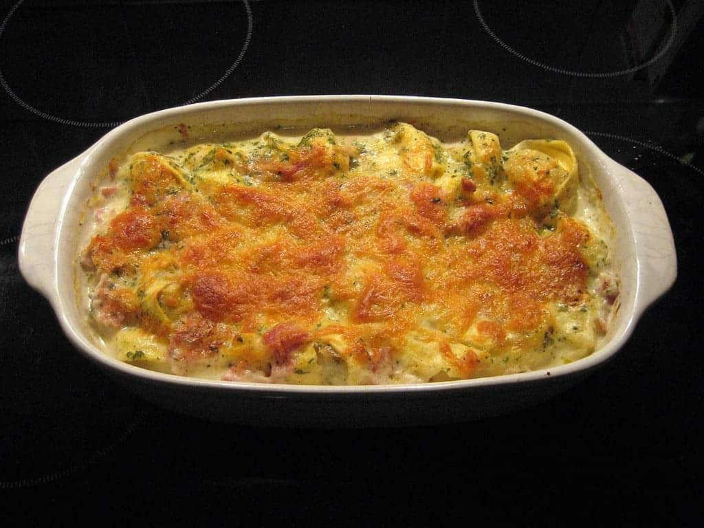 A picture of a hotdish in a casserole dish