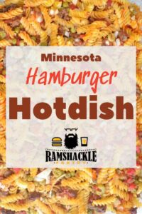 """Minnesota Hamburger Hotdish"" with the background of a closeup of the food"