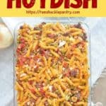 The Original Hotdish shown with an overhead view of a casserole dish containing our recipe.