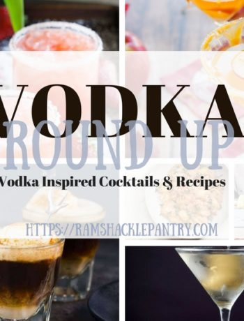 """""""Vodka Roundup - Vodka Inspired Cocktails & Recipes"""" with the pictures from all of the below recipes in the background"""