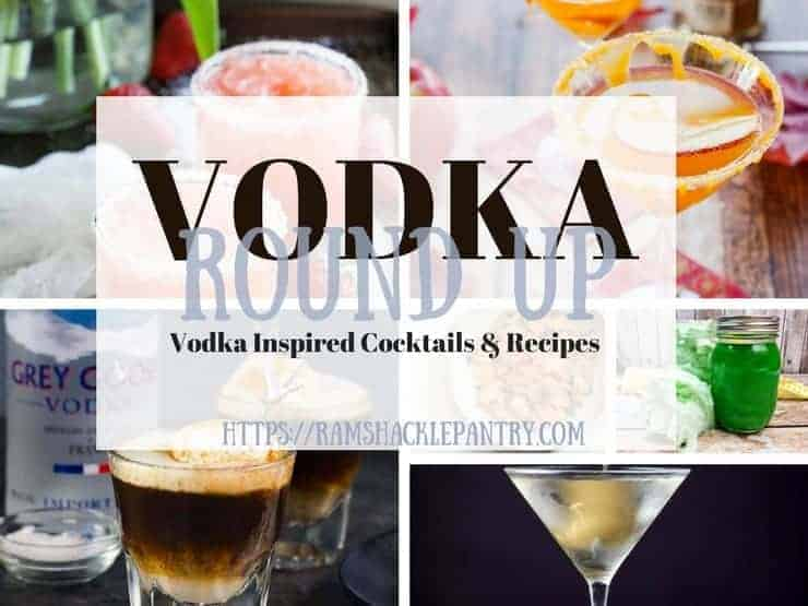 """Vodka Roundup - Vodka Inspired Cocktails & Recipes"" with the pictures from all of the below recipes in the background"
