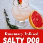 """""""Rosemary Infused Salty Dog"""" with an image of a single drink garnished with a grapefruit wedge and a sprig of rosemary."""