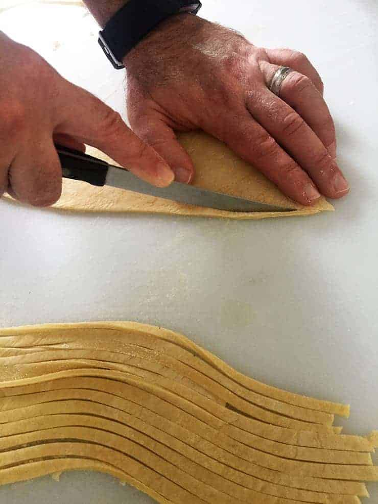 cutting noodles individually