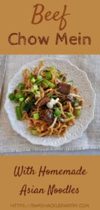"""Beef Chow Mein with Homemade Asian Noodles"" pin with an overhead photo of the asian dish."