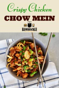"""Crispy Chicken Chow Mein"" with an image of a bowl of the chow mein. there are a set of chop sticks on top of the bowl."