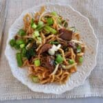 Overhead beef chow mein