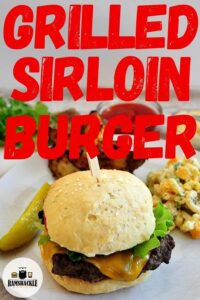 Grilled Sirloin Burger with one single hamburger showing