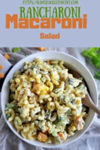 Rancharoni Macaroni Salad with a picture of a bowl of the Ranch Dressing recipe