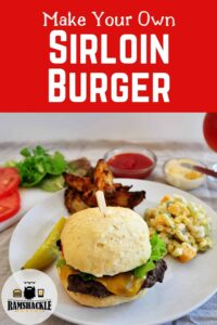 """Make your own Sirloin Burger"" with a plate of grilled food!"