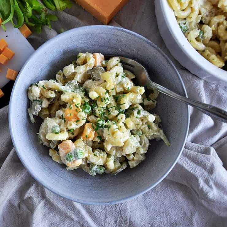 a single bowl of macaroni salad