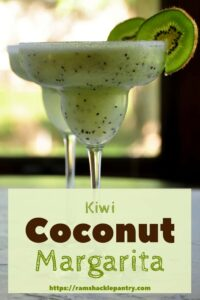 """kiwi Coconut Margarita"" with an image of two such coconut margarita drinks. The backdrop is a window that looks to the outside, but the nature is blurred a bit."