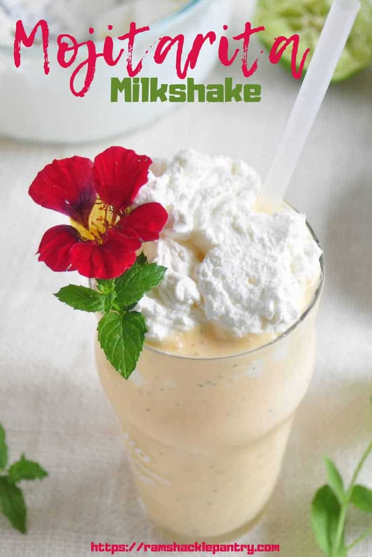 The Mojitarita Milkshake celebrates so much Summer, it is crazy! A tequila recipe that celebrates margaritas, mint mojitos, and ice cream desserts! So much good flavor going on here! #mint #mojito #margarita #icecream #tequila