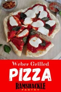 """Weber Grilled Pizza"" and a picture of the Margherita pizza"