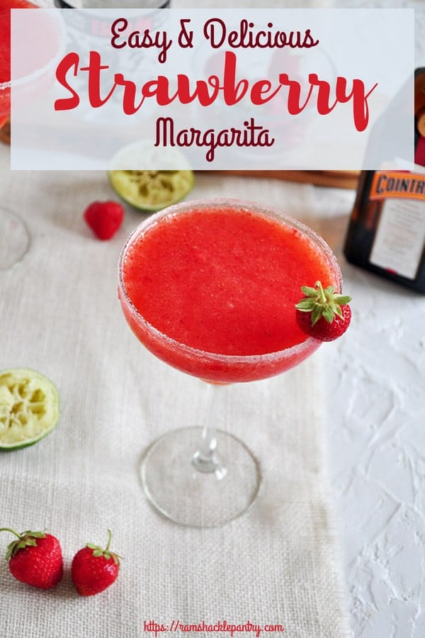 This Easy and Delicious Strawberry Margarita recipe is so, so good. Get out your blender for this frozen cocktail to make the best dang frozen strawberry margarita you can! #strawberry #cocktail #margarita #drink