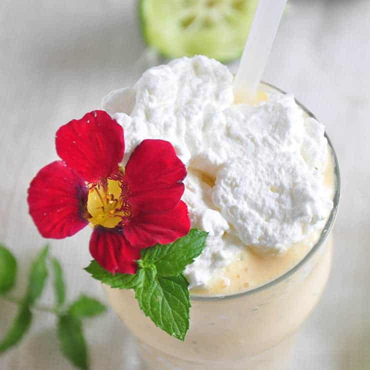 The Mojitarita Milkshake overhead shot with whipped cream and a flower garnish